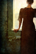 Haunted House Posters - Lady in Black Dress Looking out Window Poster by Jill Battaglia