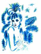 Eve Drawings Posters - Lady in Blue Poster by Judith Herbert