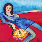 Lounging Digital Art Posters - Lady In Blue Poster by Kimberly Van Rossum