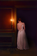 Satin Dress Prints - Lady in Candle Light Print by Jill Battaglia