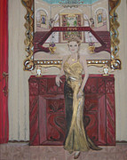 Red School House Paintings - Lady in Gold Dress by Madelin Webb