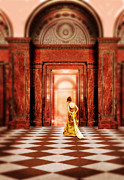 Mysterious Doorway Posters - Lady in Golden Gown Walking Through Doorway Poster by Jill Battaglia