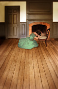 Distress Posters - Lady in Green Gown by Fireplace Poster by Jill Battaglia