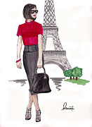 Sun Hat Mixed Media Posters - Lady in Paris Poster by Marianthisart Doukakis- Haertel
