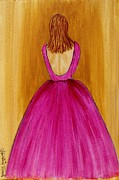 Ball Gown Painting Prints - Lady in Pink 4536 Print by Jessie Meier