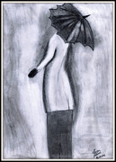 Umbrella Drawings Framed Prints - Lady in Rain Framed Print by Gaurav Patwari