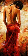 Lifestyle Framed Prints - Lady in red 27 Framed Print by Emerico Toth