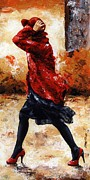 Palette Knife Art Posters - Lady in Red 28 Poster by Emerico Toth