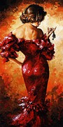 Evening Dress Painting Framed Prints - Lady in Red 33 Framed Print by Emerico Imre Toth