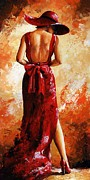 Attractive Metal Prints - Lady in red  39 Metal Print by Emerico Toth