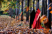 Red Leaves Photo Originals - Lady in red - 4 by Okan YILMAZ