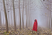 Lady In Red Framed Prints - Lady in red - 7 Framed Print by Okan YILMAZ