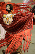 Pow Wow Metal Prints - Lady In Red Metal Print by Bob Christopher