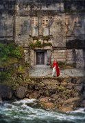 Deserted Castle Framed Prints - Lady in Red Cape By an Old House by the Sea Framed Print by Jill Battaglia