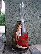 Wine-bottle Glass Art - Lady in Red  by Eileen Switzer
