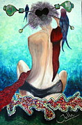 Shawl Painting Originals - Lady in Red by Jolanta Anna Karolska
