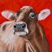 Cows Paintings - Lady in Red by Kevin Webster