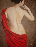 Red Drape Paintings - Lady in Red by Linda Scott