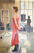 Red Drape Paintings - Lady in red by Mairead Holohan