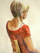 Red Dress Pastels - Lady in red seated three quarter view by June Schneider