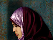 Hijab Fashion Posters - Lady in Red Version 2 Poster by Bjorn Borge-Lunde