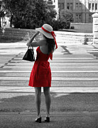 Crosswalk Photos - Lady in Red With Color Splash by Sarah Broadmeadow-Thomas
