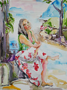 Portrait With Mountain Prints - Lady in Summer Print by Becky Kim