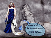 Graffiti Wall Art Posters - Lady in the Blue Dress Poster by John Rizzuto