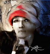 Haiti Digital Art Prints - Lady In The Red Hat Print by Bob Salo
