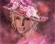 Woman In Hat Posters - Lady In The Rose Hat Poster by Carol Cavalaris