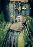 Nobility Photo Posters - Lady in Tudor Gown with Crucifix Poster by Jill Battaglia