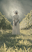 Cloudy Photo Prints - Lady In Vineyard Print by Joana Kruse