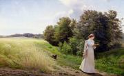 Dog Walking Painting Framed Prints - Lady in White Reading  Framed Print by Emilie Caroline Mundt