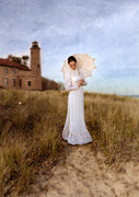 Bride Posters - Lady in White with Parasol by the Sea Poster by Jill Battaglia
