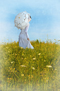 Queen Annes Lace Photos - Lady in White with Parasol in Field by Jill Battaglia
