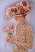 Hat Pastels Framed Prints - Lady Jessica Framed Print by Sue Halstenberg