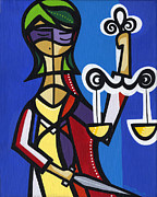 Justice Paintings - Lady justice 1 by Mary Tere Perez