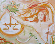 Lawyers Paintings - Lady Justice by Addie May Hirschten