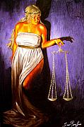 Justice Paintings - Lady Justice Long Scales by Laura Pierre-Louis