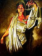 Justice Painting Metal Prints - Lady Justice Sepia Metal Print by Laura Pierre-Louis
