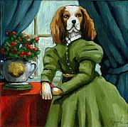 Fantasy Animal Posters - Lady Lenore - The Scandal - dog portrait Poster by Linda Apple