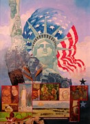 Baseball Mixed Media Originals - Lady Liberty Centennial by Chuck Hamrick