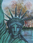 Patriotic Paintings - Lady Liberty Cries by Pauline  Kretler