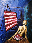Liberty Paintings - Lady Liberty Female Flag Figure Painting in Red Green Blue and Yellow by M Zimmerman