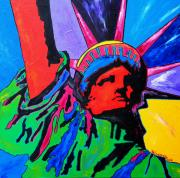 United States Of America Paintings - Lady Liberty by Patti Schermerhorn