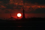 Seven Seas Photo Posters - Lady Liberty Sunset Poster by Matthew Breslow