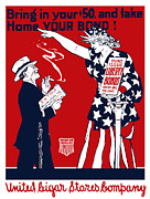 Statue Of Liberty Posters - Lady Liberty War Bonds Poster by War Is Hell Store