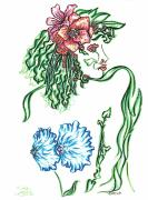 Eve Drawings Posters - Lady Lilly Poster by Judith Herbert