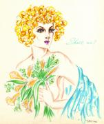 Eve Drawings Posters - Lady Madonna Poster by Judith Herbert