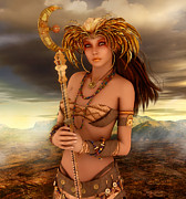 Staff Digital Art - Lady of Fantasy by Jutta Maria Pusl